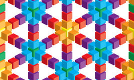 Optical illusion, colorful abstract vector cube and squares background Stock Photos