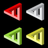 Optical illusion, colorful blocks. Four triangles royalty free illustration