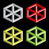 Optical illusion, colorful blocks Stock Images