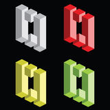 Optical illusion, colorful blocks Stock Image