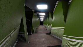Optical illusion of corridor. Animation. Corridor distorted in space with unusual shapes and darkness at end is