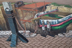 Optical illusion - 3d street art Royalty Free Stock Images