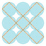 Optical illusion, colorful blocks, different shapes. Optical illusion effect, op art vector abstract background. Funny and impossible riddle royalty free illustration