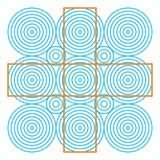 Optical illusion, colorful blocks, different shapes. Optical illusion effect, op art vector abstract background. Funny and impossible riddle vector illustration