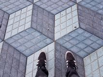 Optical illusion. Floor in alicante spain Stock Photos