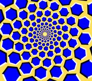 Optical illusion hexagon tunnel on a yellow background. Blue hexagons on a yellow background with perceived movement forming a tunnel Stock Illustration