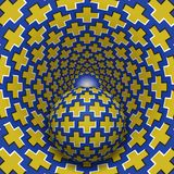 Optical illusion illustration. Ball is moving in mottled hole. Yellow crosses on blue pattern objects Stock Images