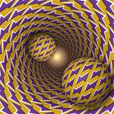 Optical illusion illustration. Two balls with lightnings pattern  Stock Photography