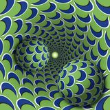 Optical illusion illustration. Two balls are moving in mottled hole. Blue crescent on green pattern objects Stock Images