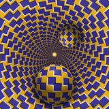 Optical illusion illustration. Two balls are moving in mottled hole. Blue shapes on yellow pattern objects. Stock Photography