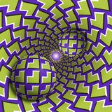 Optical illusion illustration. Two balls are moving in mottled hole. Green corners on purple pattern objects. Abstract fantasy in a surreal style Royalty Free Stock Image