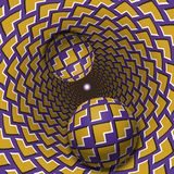 Optical illusion illustration. Two balls are moving in mottled hole. Yellow corners on purple pattern objects. Abstract fantasy in a surreal style Royalty Free Stock Photo