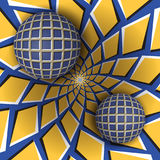 Optical illusion illustration. Two balls are moving on rotating blue background with yellow quadrangles. Stock Photography