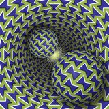 Optical illusion illustration. Two balls are moving on rotating funnel Stock Image