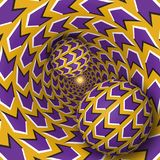 Optical illusion illustration. Two balls are moving on rotating funnel. Purple arrows on golden pattern objects. Abstract fantasy in a surreal style Royalty Free Stock Photo