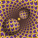 Optical illusion illustration. Two balls are moving in rotating hole. Purple arrows on yellow pattern objects. Abstract fantasy in a surreal style Royalty Free Stock Photos