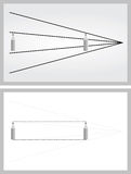 Optical illusion. Pencils appear to be different sizes although they are the same - explanation below Stock Photography