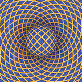 Optical illusion of rotation of the ball against the background of a moving space Stock Image