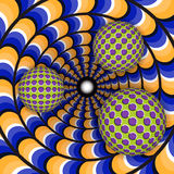 Optical illusion of rotation of three ball around of a moving hole royalty free illustration