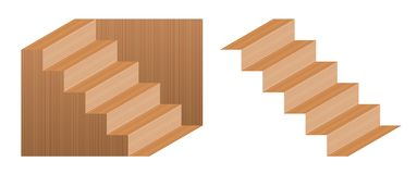 Schroeder Stairs Optical Illusion Wooden Texture royalty free illustration