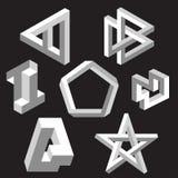 Optical illusion symbols.  Vector illustration. Royalty Free Stock Image