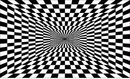 Cool optical illusion. One-point perspective in black. Optical illusion tunnel. One-point perspective in black & white Royalty Free Stock Photography