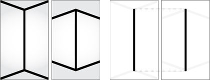 Optical illusion. Two vertical lines on the left look like they are not the same size - explanation on the right Stock Photography
