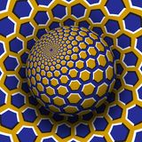 Optical illusion vector illustration. Yellow blue hexagons patterned sphere soaring above the same surface.  vector illustration