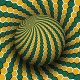 Optical illusion vector illustration. Yellow green hexagons patterned sphere soaring above the same surface.  stock illustration