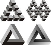 Optical illusions. 4 Paradox triangles and cubes Royalty Free Stock Photos