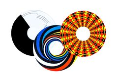 Optical illusions shapes abstract, three cut out colorful circle objects, elements, wagon-wheel rotation illusoric effect