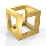 Optical illustion cube. Abstract optical illusion of golden cube on white background Royalty Free Stock Images