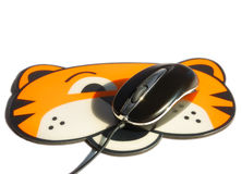 Optical Infrared Mouse on pad Stock Photos