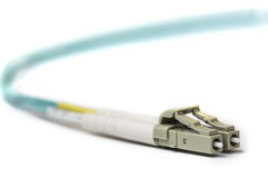 Optical LC patch cord with white connector Stock Image