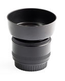 Optical lens fix 50 mm. with hood. The optical lens fullframe fix 50 mm. with protect hood Stock Image