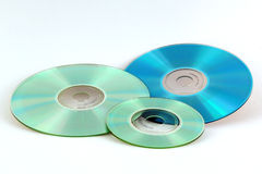 Optical Media. Variety of optical discs on white background Royalty Free Stock Images