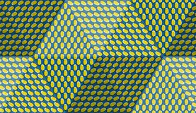 Optical motion illusion abstract background. Ellipse patterned seamless pattern in hexahedral pyramid form.  Stock Image