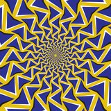 Optical motion illusion background. Blue arrows revolve circularly around the center on yellow background.  Royalty Free Stock Photography