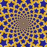 Optical motion illusion background. Blue stars fly apart circularly from the center on yellow background.  Stock Photo