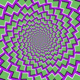 Optical motion illusion background. Green shapes fly apart circularly from the center on purple background Stock Images