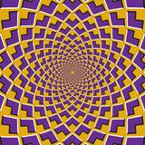 Optical motion illusion background. Purple corners flock together circularly to the center on yellow background.  Royalty Free Stock Photos