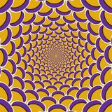 Optical motion illusion background. Purple crescent flock together circularly to the center on yellow background.  Stock Images