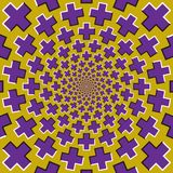 Optical motion illusion background. Purple crosses fly apart circularly from the center on yellow background.  Stock Photos