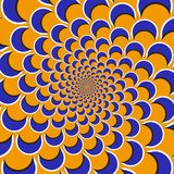 Optical motion illusion background. Purple shapes fly apart circularly from the center on orange background.  Stock Image