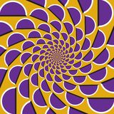 Optical motion illusion background. Purple shapes fly apart circularly from the center on yellow background.  vector illustration