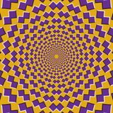 Optical motion illusion background. Purple shapes fly apart circularly from the center on yellow background Royalty Free Stock Photos