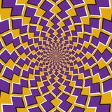 Optical motion illusion background. Purple shapes revolve around the center on yellow background.  Stock Photography