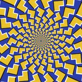 Optical motion illusion background. Yellow arrows fly apart circularly from the center on blue background.  Royalty Free Stock Image