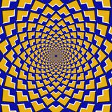 Optical motion illusion background. Yellow corners fly apart circularly from the center on blue background.  Stock Image