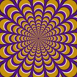 Optical motion illusion background. Yellow crescents fly apart circularly from the center on purple background.  Royalty Free Stock Photo